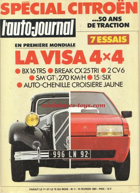 la revue n 3 de l 39 auto journal de f vrier 1984 sur les 50 ans de la traction citro n miniatures toys. Black Bedroom Furniture Sets. Home Design Ideas