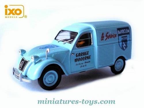 La citro n 2cv azu camionnette bleue ciel garage moderne en miniature au 1 43e miniatures toys - Garage miniature citroen ...