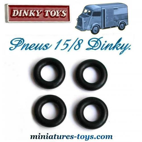 lot de 4 pneus dinky toys 15 8 noirs et lisses pour hy citro n miniature de dinky miniatures toys. Black Bedroom Furniture Sets. Home Design Ideas