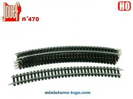 Un lot de 6 rails courbes miniatures Jouef n°470 pour train miniature au H0 HO